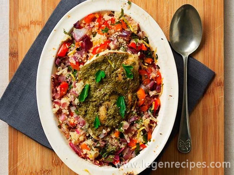 Baked pesto chicken with citrus couscous - Legendary Recipes