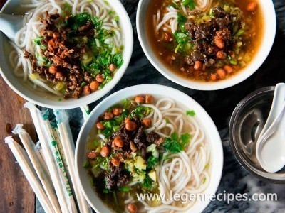 Hainanese Rice Noodle Soup with Pork and Pickled Bamboo
