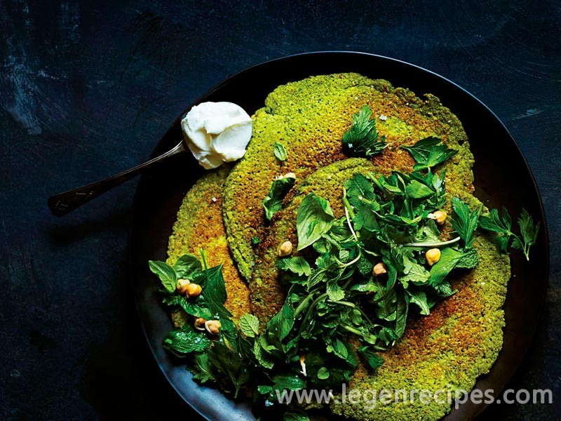Sprouted Chickpea Socca with Herb Salad and Yogurt - Legendary Recipes
