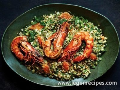 Sprouted Seed and Grain Salad with Spiced Prawns