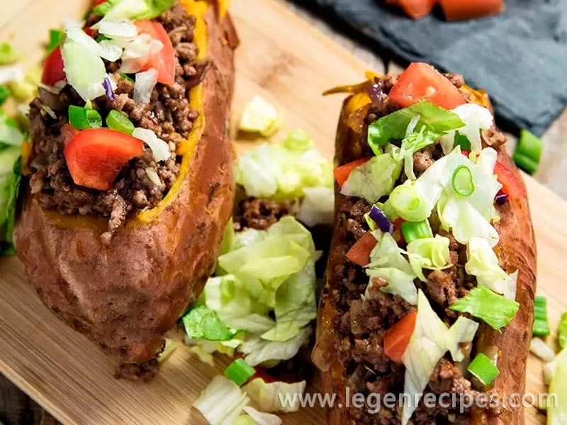 Taco-Stuffed Sweet Potatoes.