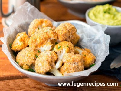 Almond-Crusted Cauliflower Bites with Avocado Ranch Dip