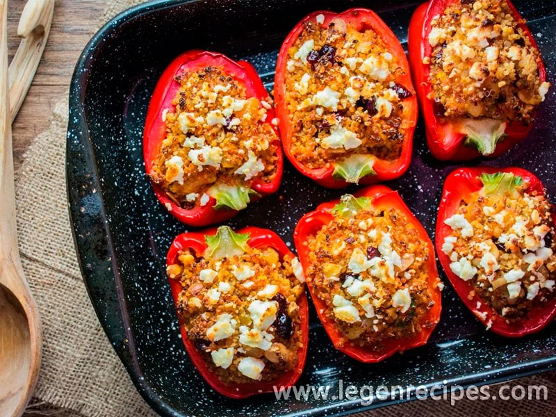 Moroccan Quinoa Stuffed Peppers - Legendary Recipes