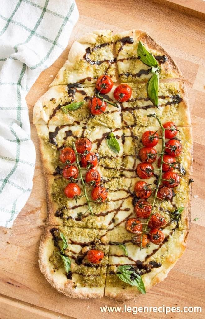 Blistered Caprese Pizza with Garlic Scape Pesto - Legendary Recipes