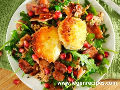 Wild Rice & Arugula Salad with Bacon & Fried Goat Cheese